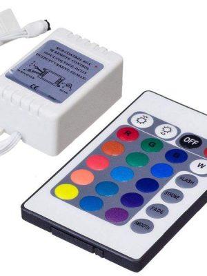دستگاه کنترل کننده مادون قرمز ریسه های LED جهت کنترل کامل ریسه های ال ای دی کاربرد دارد. روشن و خاموش و تغییر رنگ ال ای دی و تغییر الگوی چشمک زنی نیز توسط همین کنترلر با 24 دکمه انجام می شود . تغذیه این دستگاه 12 ولت DC می باشد.